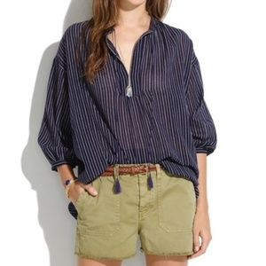 MADEWELL Openview Tunic In Dotted Line 100% Cotton